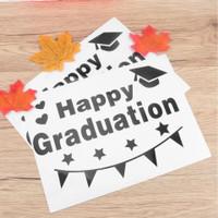 stiker balon transparan pvc desain bobo - happy graduation wisuda - bintang