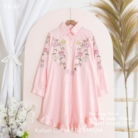 Tunik Bordir Wanita Blouse Baju Kerja Katun Oxford PREMIUM 'LEAVES' - TK-67 Pink