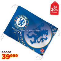 bendera CHELSEA FC / THE BLUES bahan tekstil lokal 90x60 cm