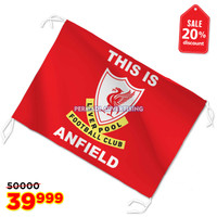 bendera LIVERPOOL FC bahan tekstil lokal 90x60 cm