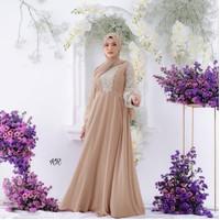 Baju Gamis Maxi Muslim Kombi Brukat Mokirara Wanita