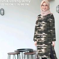 tunik armi loreng army baju blouse wanita atasan muslim panjang doreng