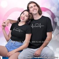 Kaos Couple Pasangan Pacar Baju Pria Wanita Distro True Love Heartbeat