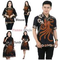 Batik Couple Tunik Blouse Kemeja Pria Lengan Pendek Baju Batik Cowok - Batik Kemeja, M