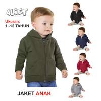 Hoodie Zipper Jaket Sweater Baju Anak Bayi Polos Unisex 1-12 Tahun