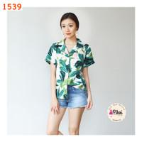 Blouse summer v neck / baju pantai / atasan wanita bunga / blus daun