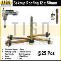 Skrup Roofing 12x50 Sekrup Ruping Atap Asbes SDS Self Drilling Screw