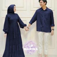 Baju couple pasangan muslimah dewasa Marina gamis brukat + kemeja