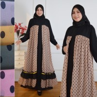 BAJU GAMIS WANITA MUSLIM CERUTY BABYDOLL DRESS SABYAN BUKA PINTU CREAM