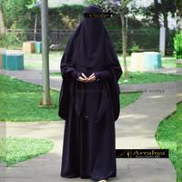 Arrahya Exclusive Gamis Butik set khimar syari / Gamis hitam Polos