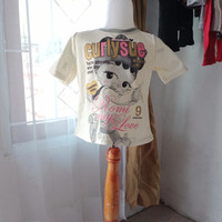 baju atasan anak wanita putih motif LD64 panjang39 merk Justice