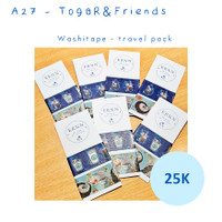 Washi Tape Cute Animals Husky Hedgehog Travel Pack
