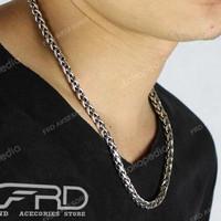 Kalung Rantai Pria Titanium Silver Besar