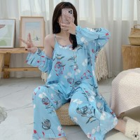 Set Kimono 3in1 PP Piyama Baju Tidur Wanita Import Fashion 7101