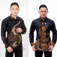 Kemeja Batik Pria Lengan Panjang Motif Naga Baju Batik Pekalongan