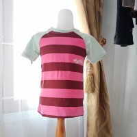 Baju atasan anak cewek pink garis2 merk justice LD60 panjang 42