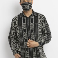 Kemeja Tenun Pria Stone Grey Set Masker - M