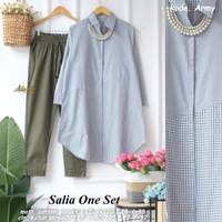 Salia One Set Setelan Celana Wanita Baju Kerja Modis Casual - ARMY