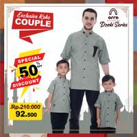 Baju Kemeja Koko Pria Couple Ayah Dan Anak Remaja Lengan Pendek Muslim - Hijau, S Anak