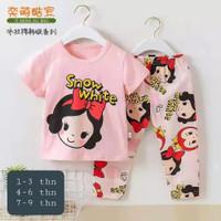 baju rumah/santai/setelan import anak perempuan 4-9th snow white CP