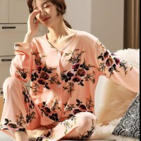 baju tidur piyama pajamas wanita dewasa jumbo lengan panjang adem - flower peach