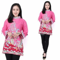 batik atasan wanita blouse batik wanita baju atasan wanita terbaru - pink