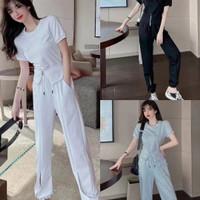 Baju setelan joger wanita casual import korea style sport terbaru - Putih, M