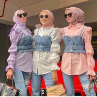 Nara Blouse 2in1/Baju Atasan Wanita Kekinian Mix Rompi Jeans