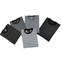 Kaos salur garis garis ori stripe belang belang t shirt pria wanita