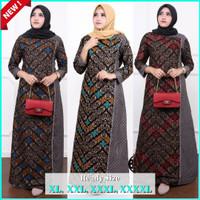 gamis batik sogan jumbo/baju batik wanita gamis lawasan