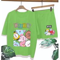 Setelan wanita kaos celana freesize tshirt abg remaja satu set motif - Bts bt21