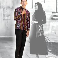 Baju Couple Batik Dress Songket   Seragam Kondangan, Pasangan   - Blue - Kemeja, M