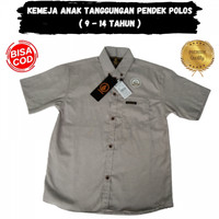 Baju Kemeja Anak Laki Laki Cowok Cowo Polos Lengan Pendek M L XL - Biru Muda, M