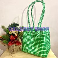 Tas Anyaman Plastik Jally (Long Handle) - Hijau