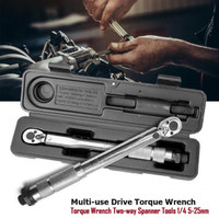 Kunci Pas Torque Wrench Two-way Spanner Tools 1/4 Inch 5-25nm