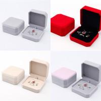 Kotak Set Perhiasan Kalung Anting Cincin Box Hantaran Velvet Bludru - - abu pink