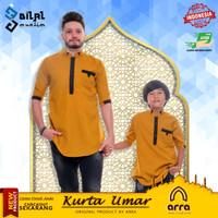 Baju Koko Muslim Couple Ayah dan Anak Kurta Pakistan Brand Savci Umar - Mustard, M Dewasa