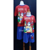 Baju Tidur Anak Cowok Anne Claire (AMONG US) st. lengan pdk celana pdk - 4, Merah