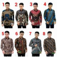 Baju Batik Pria Seragam Kemeja Lengan Panjang Dewasa Slimfit Jumbo