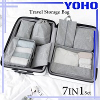Tas Travel Organizer Storage Bag Luggage Bag Tas Dalam Koper 7in1 Set - Grey