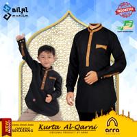 Baju Koko Kurta Muslim Ayah dan Anak Al Qarni Kokoh Couple Brand Arra - Hitam, L Dewasa