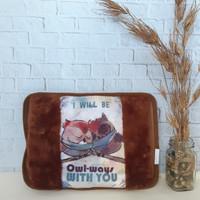 Bantal Panas Penghangat Terapi / Heating Pad / Hot Water Bag Bergambar - OWL COKLAT