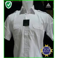 Baju kemeja pria Alisan lengan pendek putih saku dua pangkat top brand
