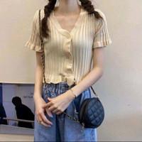 Vneck Crop Top / Korean Fashion / Baju Crop Top Wanita - Cream