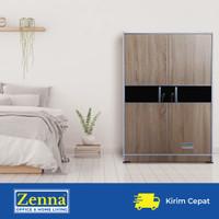 Zenna lemari pakaian 2 pintu london / lemari anak / baby locker - List hitam, Packing