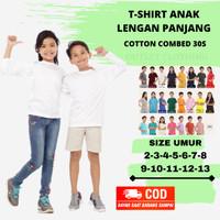 Baju Kaos Anak Polos Lengan Panjang Putih Bahan Cotton Combed 30s