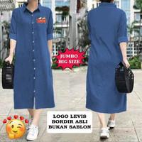 16353 16356 Baju Tunik Wanita Motif Lucu Bordir Asli LONG TUNIC DENIM - Biru, XL