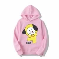 baju sweater hoodie anak perempuan bts bt21 chimmy 6 7 8 9 10 th pink