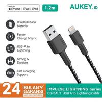 Aukey Kabel CB-BAL3 1,2M USB-A to Lightning Braided Black - 500365