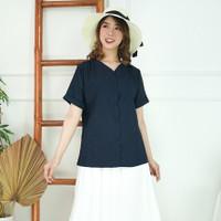Hinata Shirt - Kemeja Wanita tanpa kerah lengan pendek